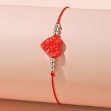 Girls Heart & Bead Bracelet