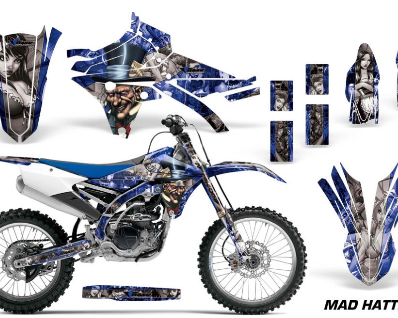 AMR Racing Dirt Bike Graphics Kit Decal Sticker Wrap For Yamaha YZ250F YZ450F 2014-2017áHATTER BLACK SILVER