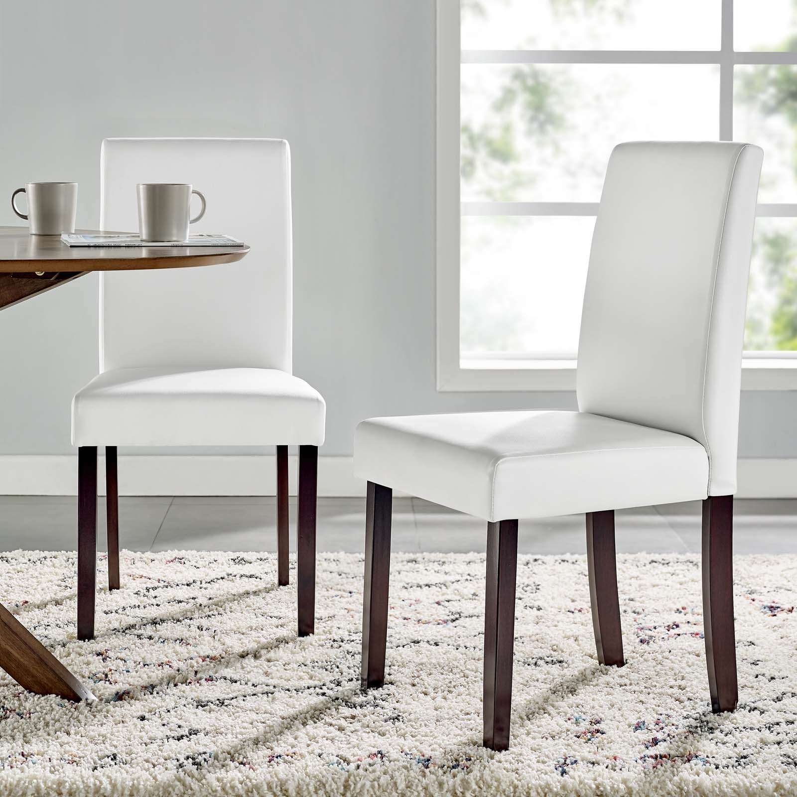 Prosper Faux Leather Dining Side Chair Set of 2 in White