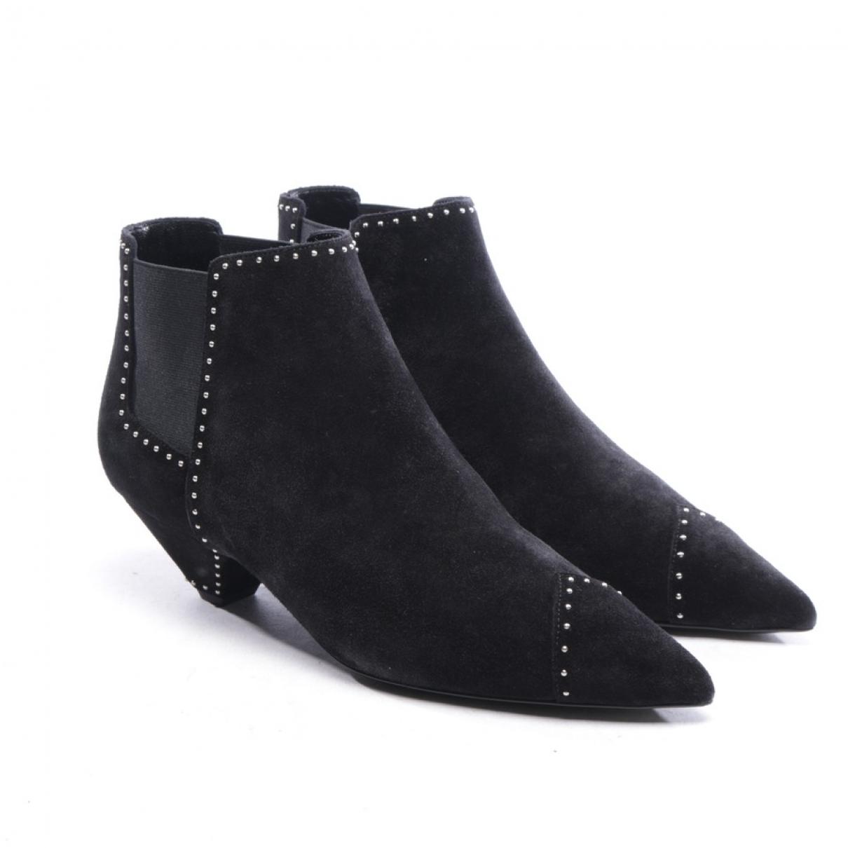 Saint Laurent \N Black Suede Ankle boots for Women 39.5 EU