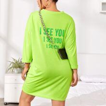 Neon Lime langes T-Shirt mit Buchstaben Grafik