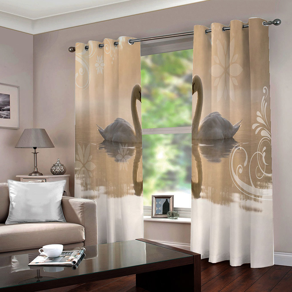 3D Swan Couple Blackout Window Curtains for Living Room Bedroom No Pilling No Fading No off-lining Blocks Out 80% of Light and 90% of UV Ray