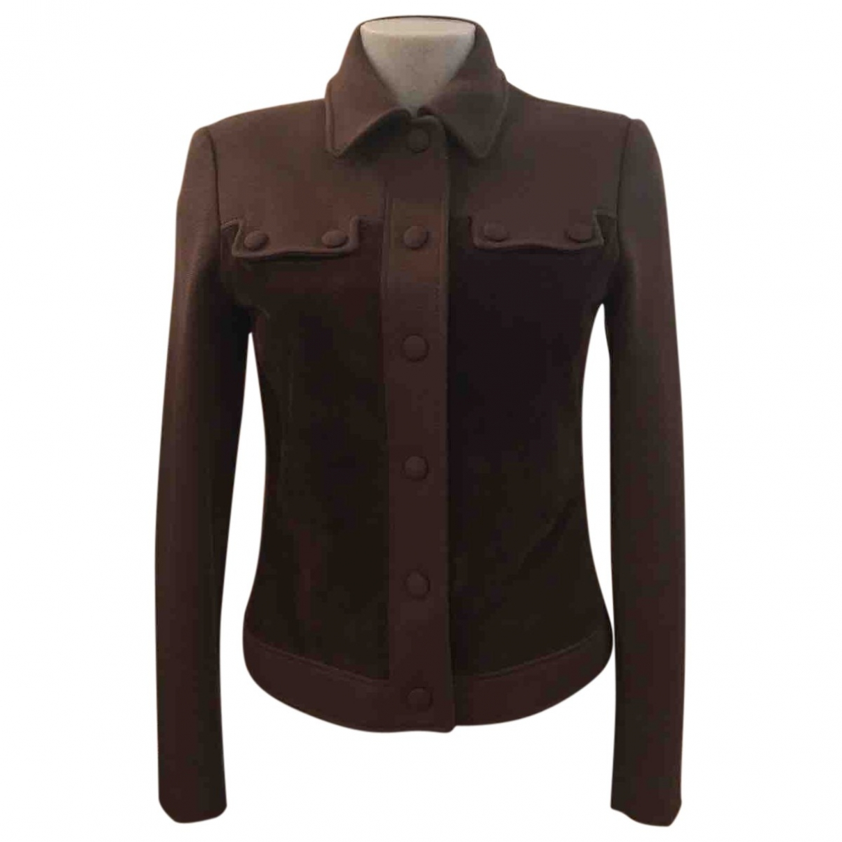 Non Signe / Unsigned Epaulettes Jacke in  Braun Wolle
