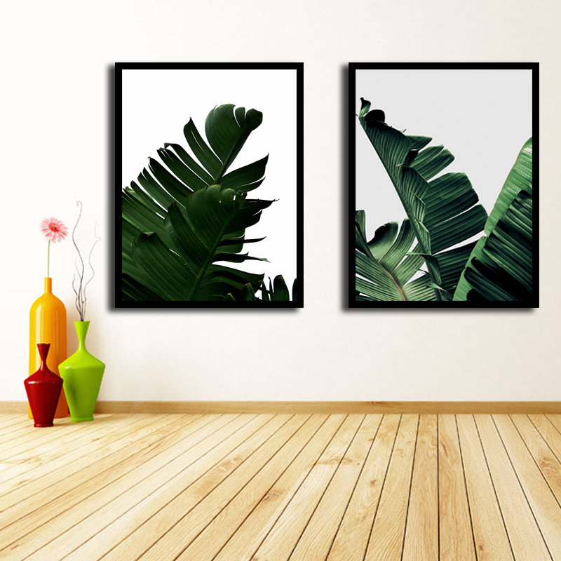 Miico Hand Painted Combination Decorative Paintings Botanic Leaves Paintings Wall Art For Home Decor