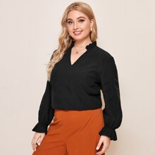 Plus Frill Notched Neck Flounce Sleeve Blouse