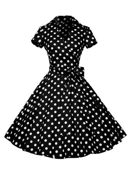 Milanoo Vestido de la vendimia en forma y vestido de la llamarada de 1950 V-cuello atan para arriba en capas de manga corta longitud de la rodilla ver