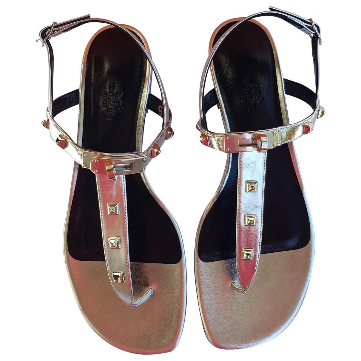 Hermes - Sandales   pour femme en cuir - argente