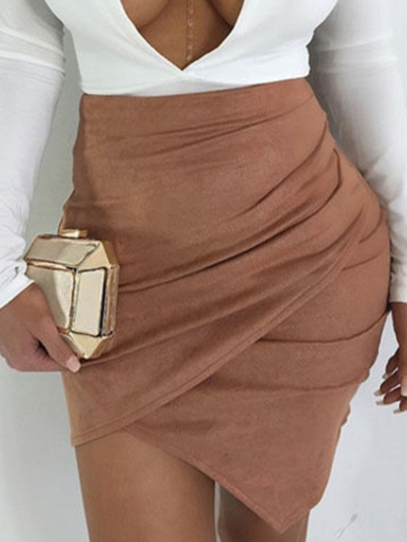 Yoins Khaki Crossed Front Design High-Waisted Suede Skirt