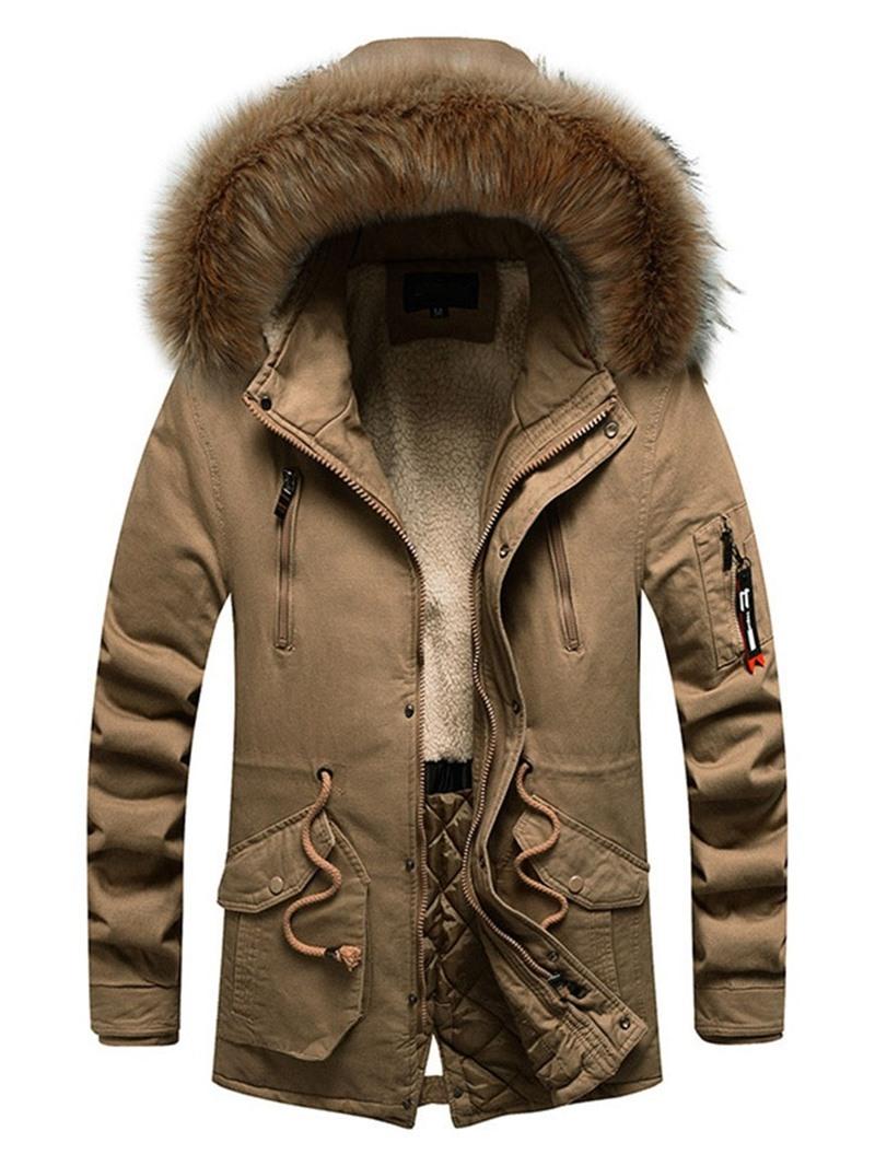 Ericdress Zipper Hooded Mid-Length European Down Jacket