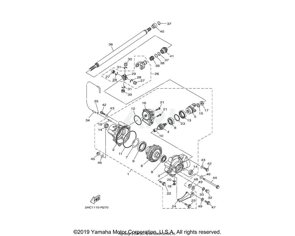 Yamaha OEM 2HC-46161-00-00 HOUSING, SHAFT DRIVE 2
