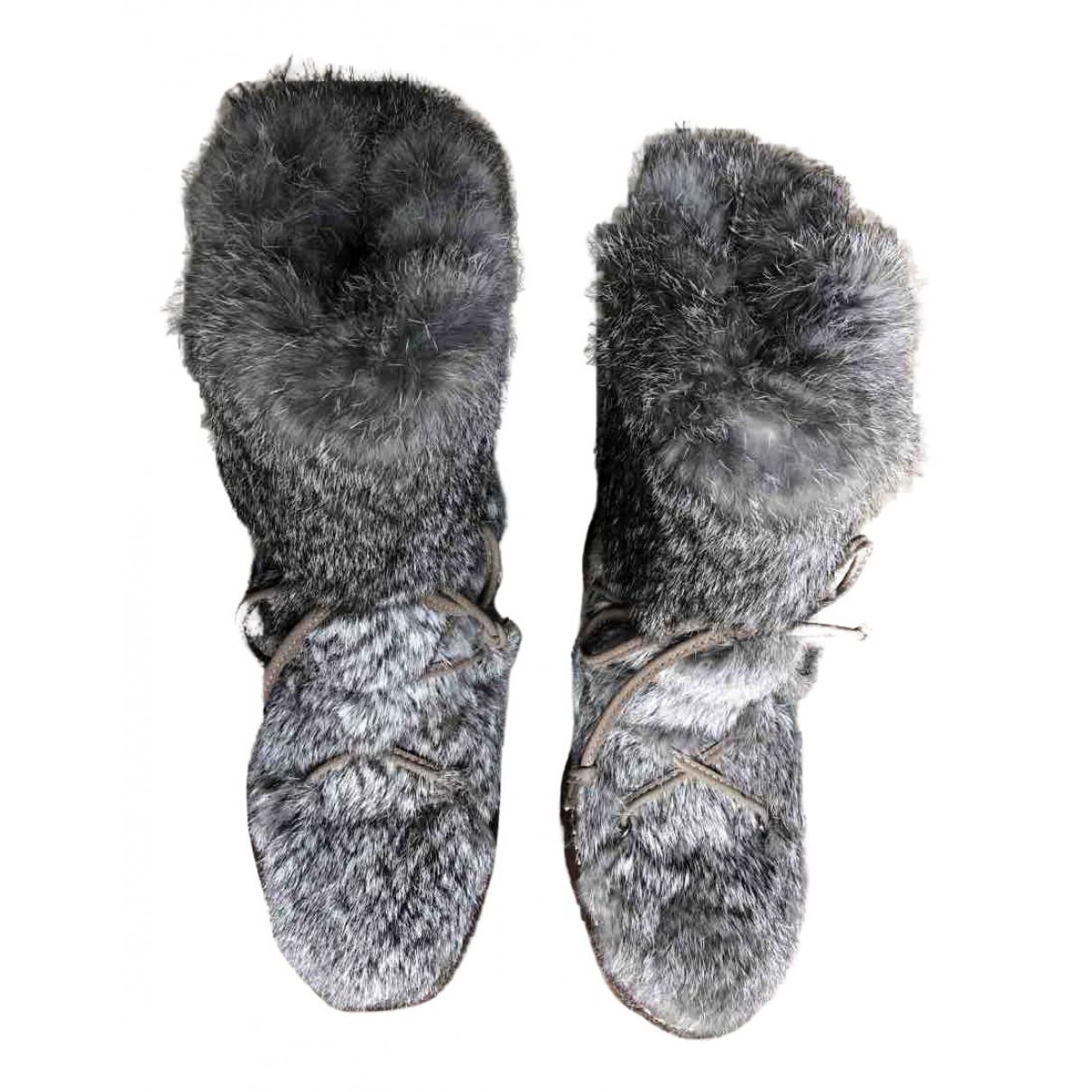 - Boots   pour femme en fourrure synthetique - gris