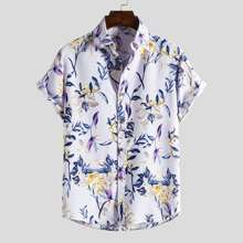 Hemd mit Pflanzen Muster und gebogenem Saum