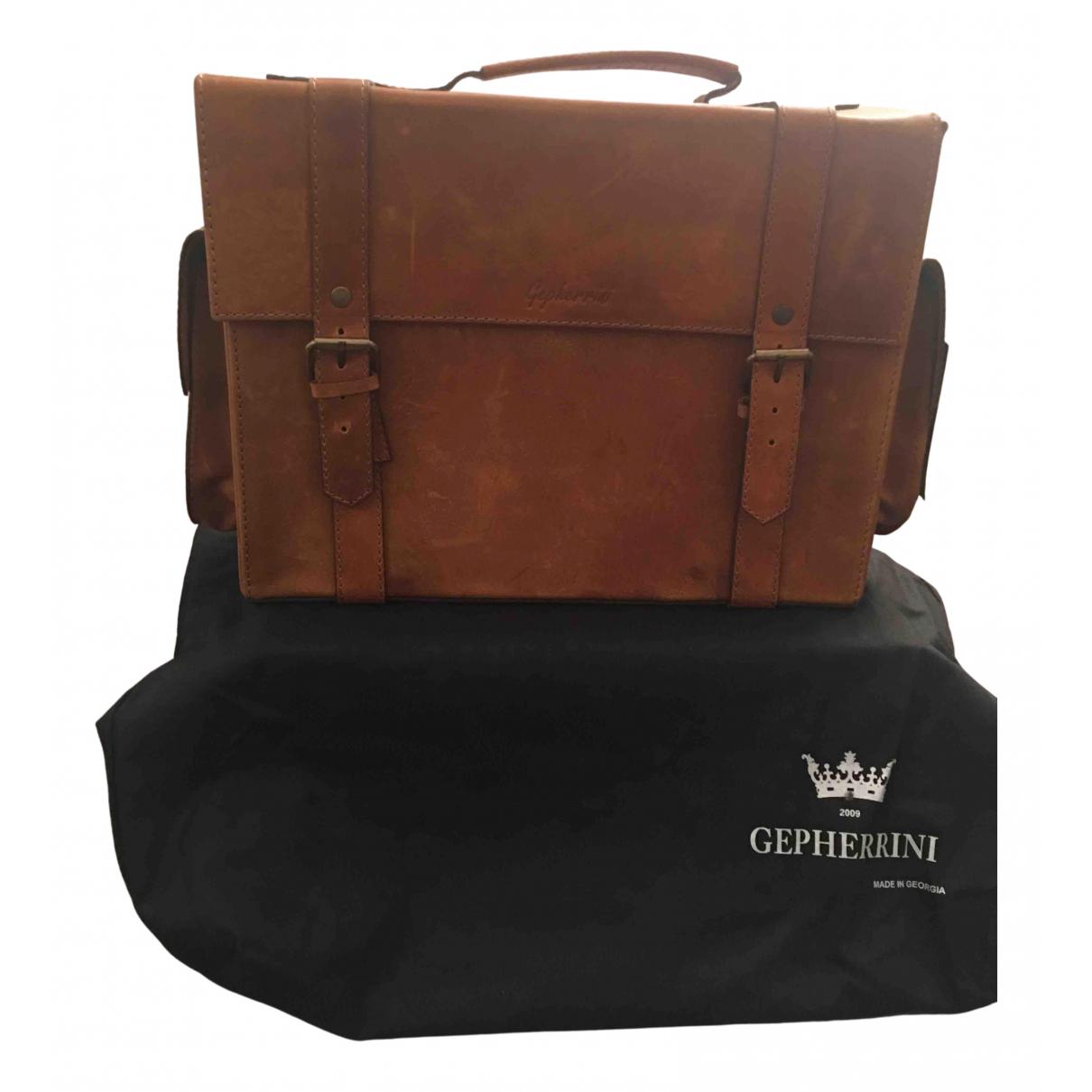 Non Signé / Unsigned N Camel Leather bag for Men N