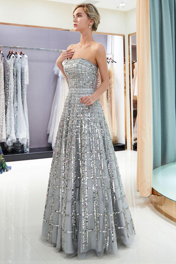 MARJORY   A-line Longueur de plancher bretelles paillettes robes de soiree