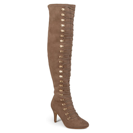 Journee Collection Womens Trill Wide Calf Boot, 10 1/2 Medium, Brown