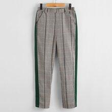 Boys Striped Side Patch Pocket Plaid Pants