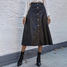 Button Front PU Leather A-line Skirt
