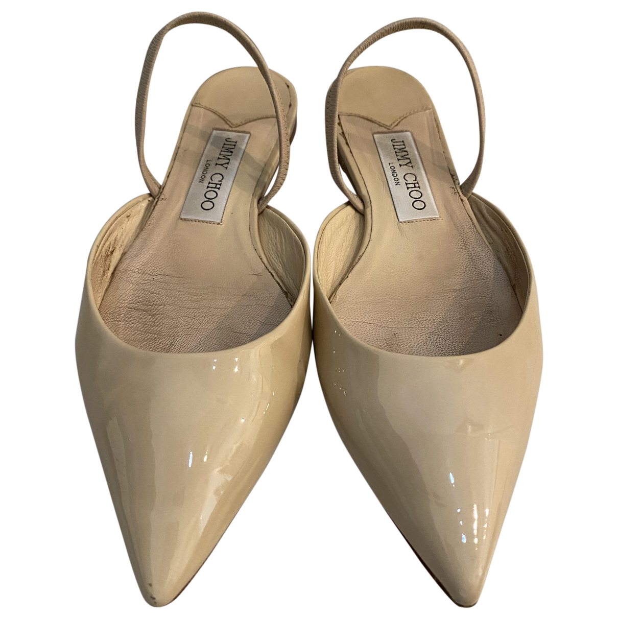 Jimmy Choo N Beige Leather Sandals for Women 37.5 EU