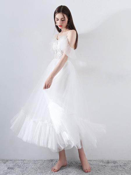 Milanoo Short Wedding Dress 2020 A Line V Neck Short Sleeves Tea Length Bridal Dresses