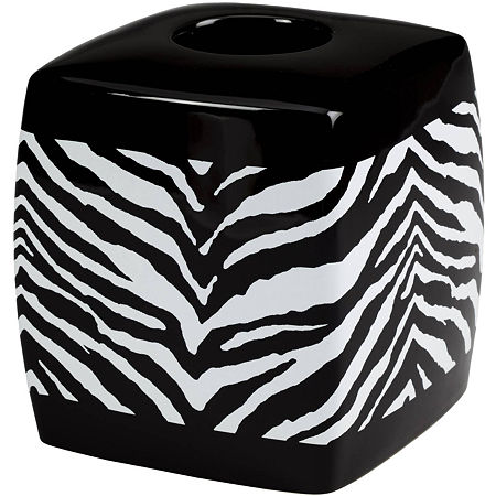 Creative Bath Zebra Tissue Holder, One Size , Black