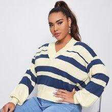 Zweifarbiger Pullover mit V Kragen und Laternenaermeln