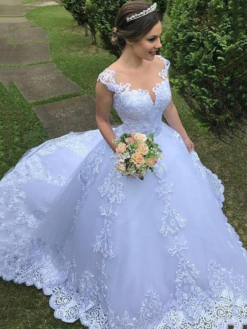 Ericdress Appliques Straps Ball Gown Outdoor Wedding Dress