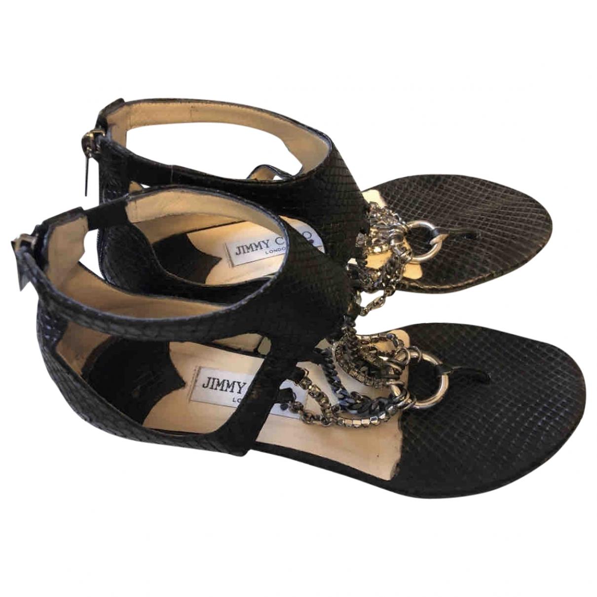 Jimmy Choo \N Black Python Sandals for Women 37 EU