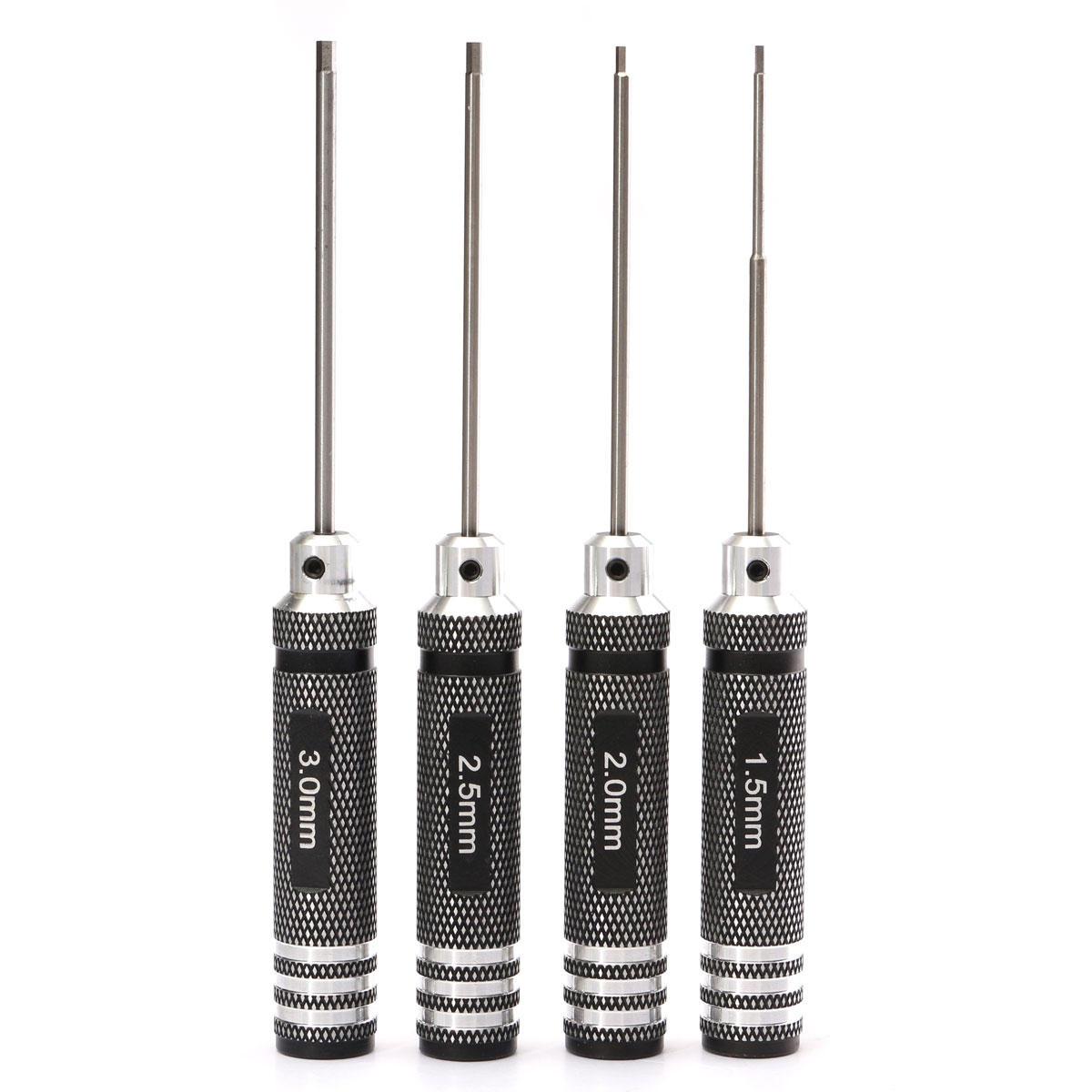 Drillpro 4pcs Hex Screwdriver Tool Kit 1.5/2.0/2.5/3.0mm Black Repair Tool Set