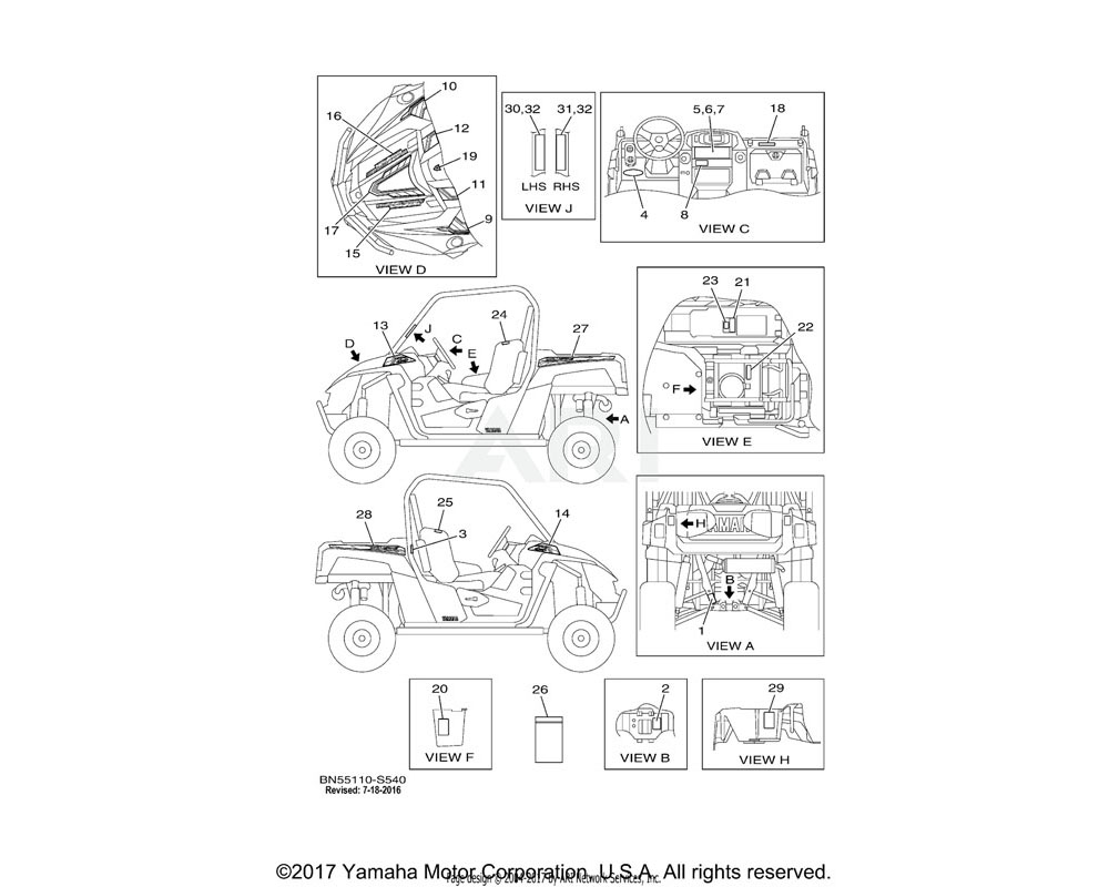 Yamaha OEM BN5-F4234-10-00 EMBLEM 4