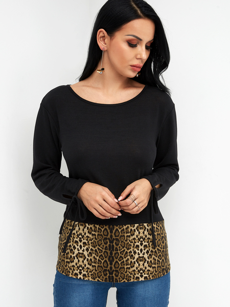 Yoins Color Block Leopard Scoop Neck Long Sleeves Tie up at Cuffs T-shirts