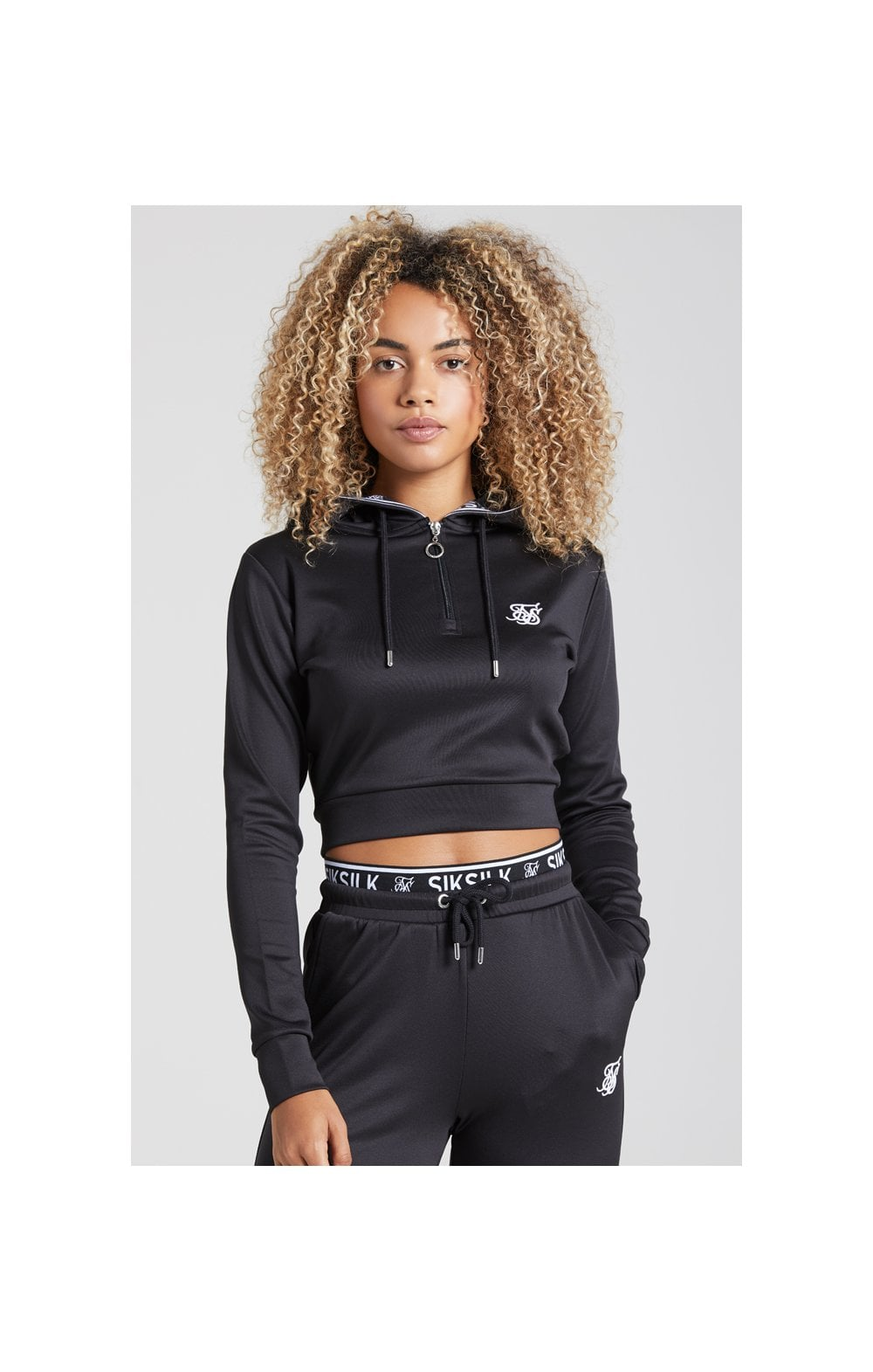 SikSilk Tape 1/4 Zip Track Top - Black WOMEN SIZES: 10-S