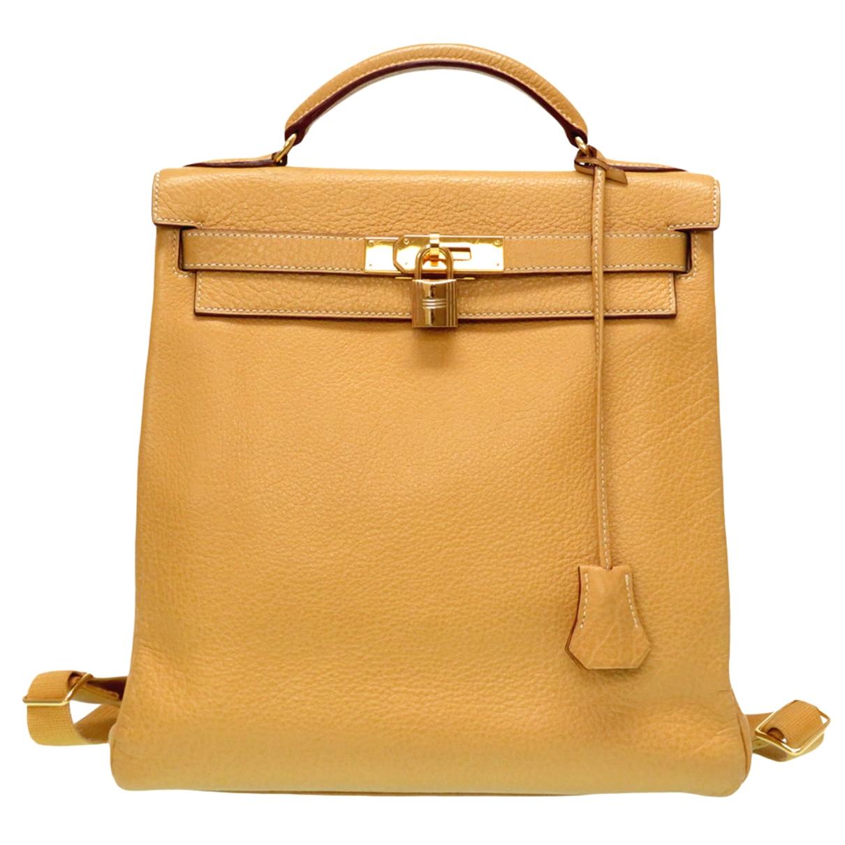Herm�s Kellyado Beige Leather backpack for Women \N