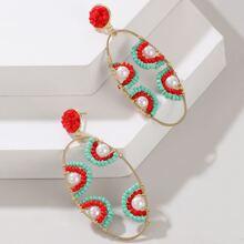 Faux Pearl & Bead Decor Geo Drop Earrings