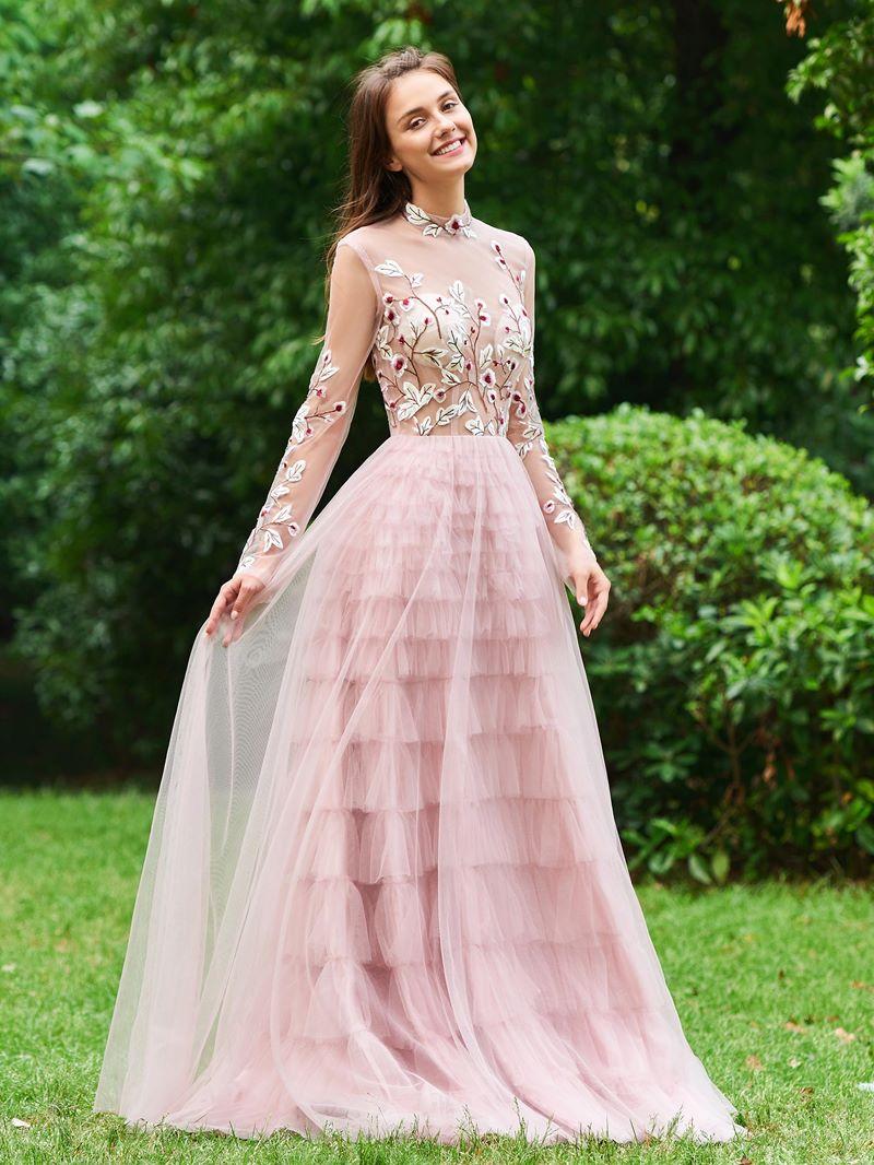 Ericdress A Line High Neck Long Sleeve Evening Dress