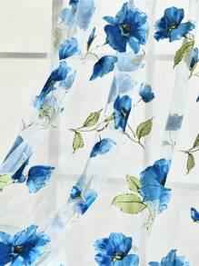 1pc Flower Print Clear Curtain