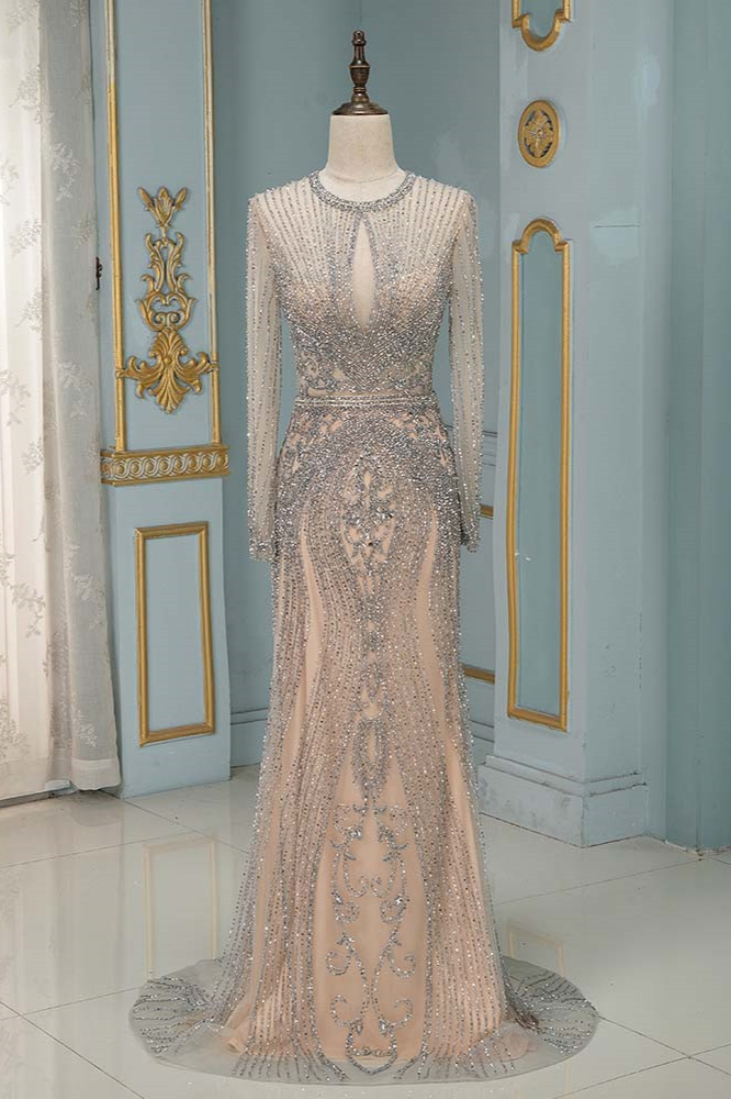 BMbridal Luxury Jewel Long Sleeves Long Prom Dresses with Beadings Online