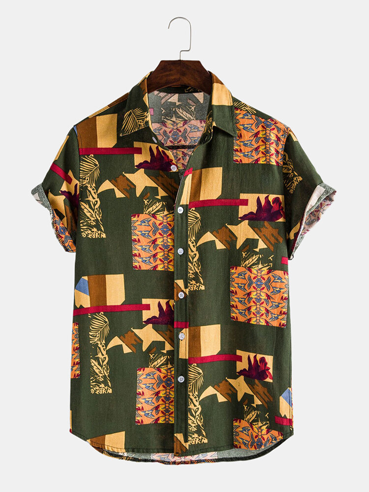 Mens Retro Vintage Abstract Print Loose CasualShort Sleeve Shirts