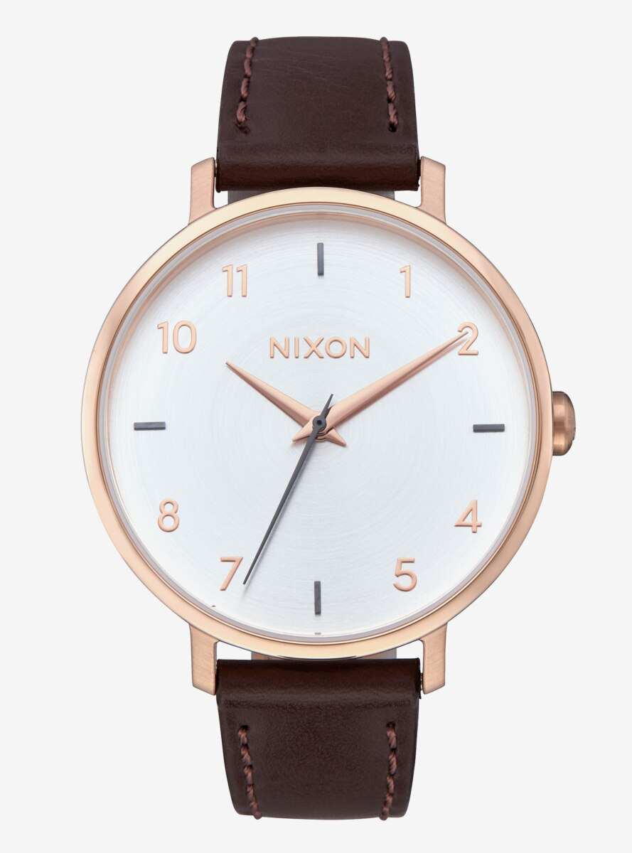 Nixon Arrow Leather Rose Gold Silver Watch