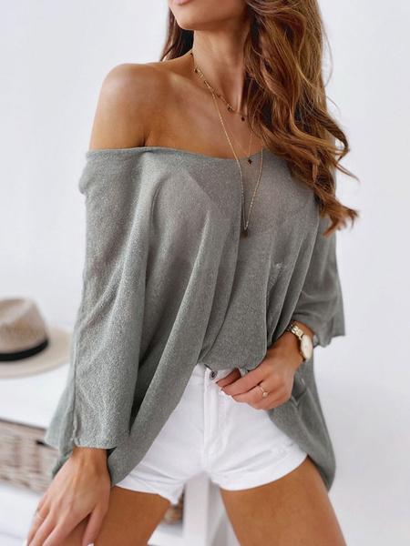 Milanoo Women Cover Ups White Bateau Neck Long Sleeves Cotton Blend Summer Beach Swimwear