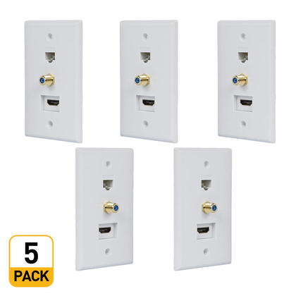Recessed HDMI Wall Plate, HDMI, F-Type Connector, RJ45 Cat5 Couplers - PrimeCables® - 5/Pack