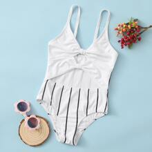 Girls Striped Cut-out One Piece Swimsuit