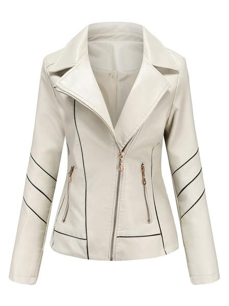 Milanoo Women Winter Jackets Black Turndown Collar Long Sleeve Zipper Detail Short Jacket