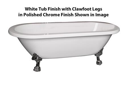 ADRN70LP-WH-CP Colin Acrylic Double Roll  70  WH  Chrome Polish Lion Feet  No