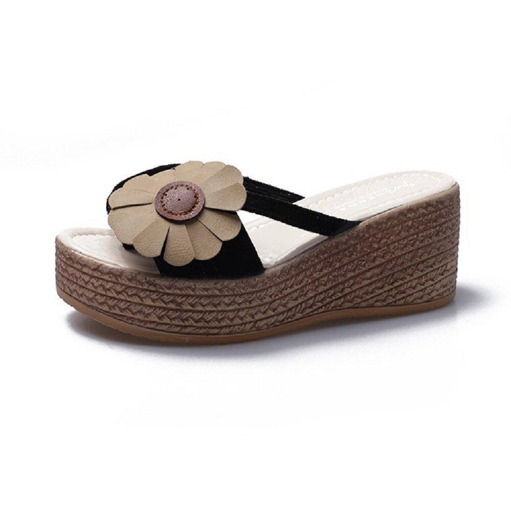 Women Casual Beach Flower Clip Toe Platform Slippers