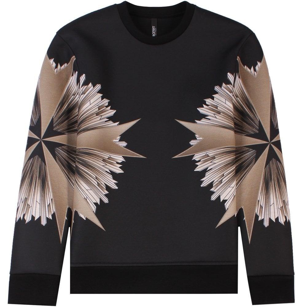 Neil Barrett Military Star Sweatshirt Black  Colour: BLACK, Size: MEDIUM