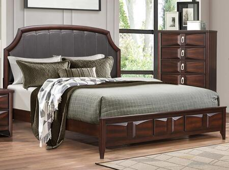 Harrison Collection HA375-K King Size Bed with Faux Leather Upholstery in Headboard  Low Profile Footboard  Raised Panels Design  Stitching Details