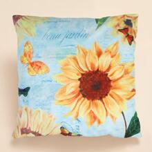 Kissenbezug mit Sonnenblumen Muster ohne Fuelle