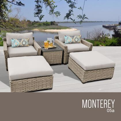 MONTEREY-05a-BEIGE Monterey 5 Piece Outdoor Wicker Patio Furniture Set 05a with 2 Covers: Beige and