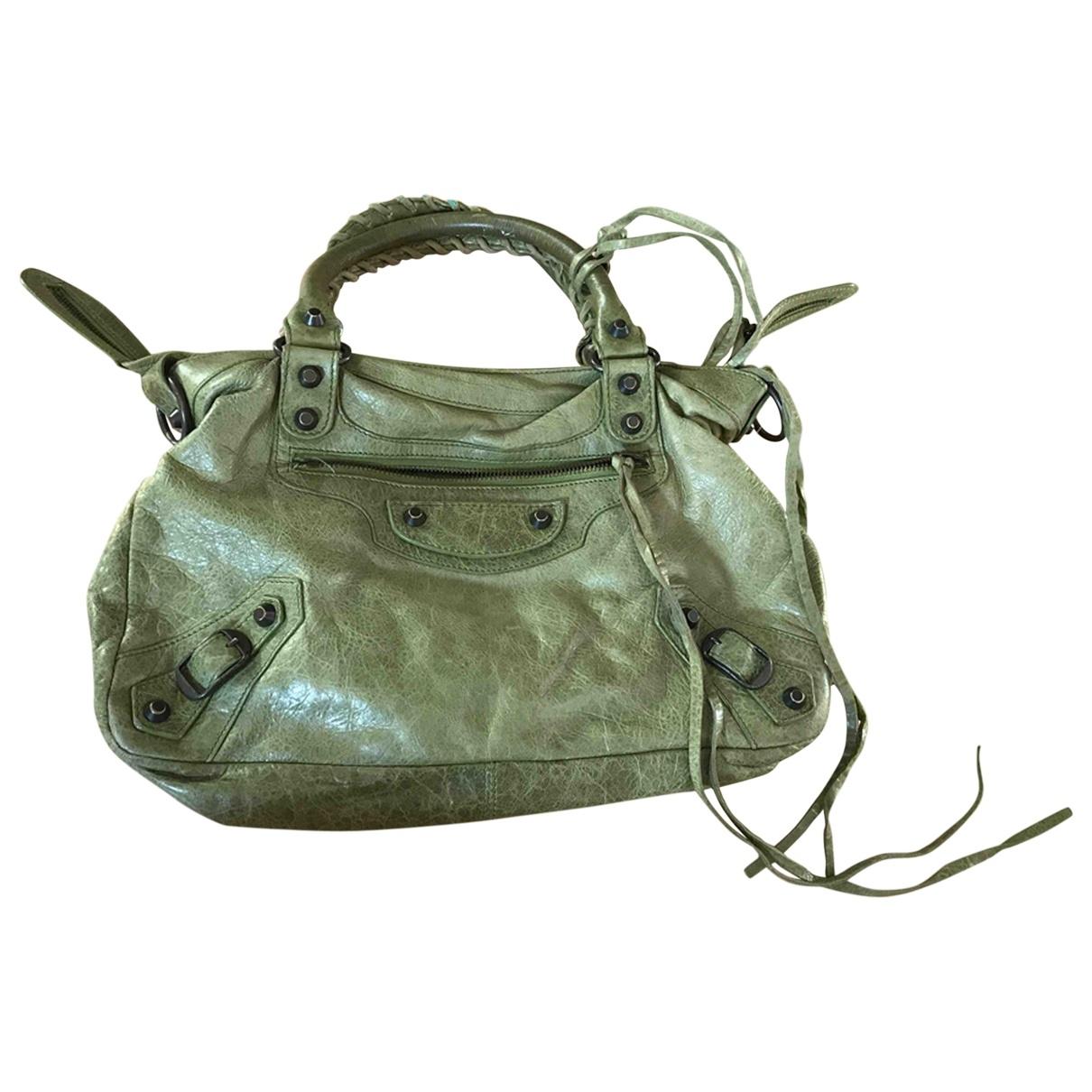 Balenciaga Vélo Khaki Leather handbag for Women \N