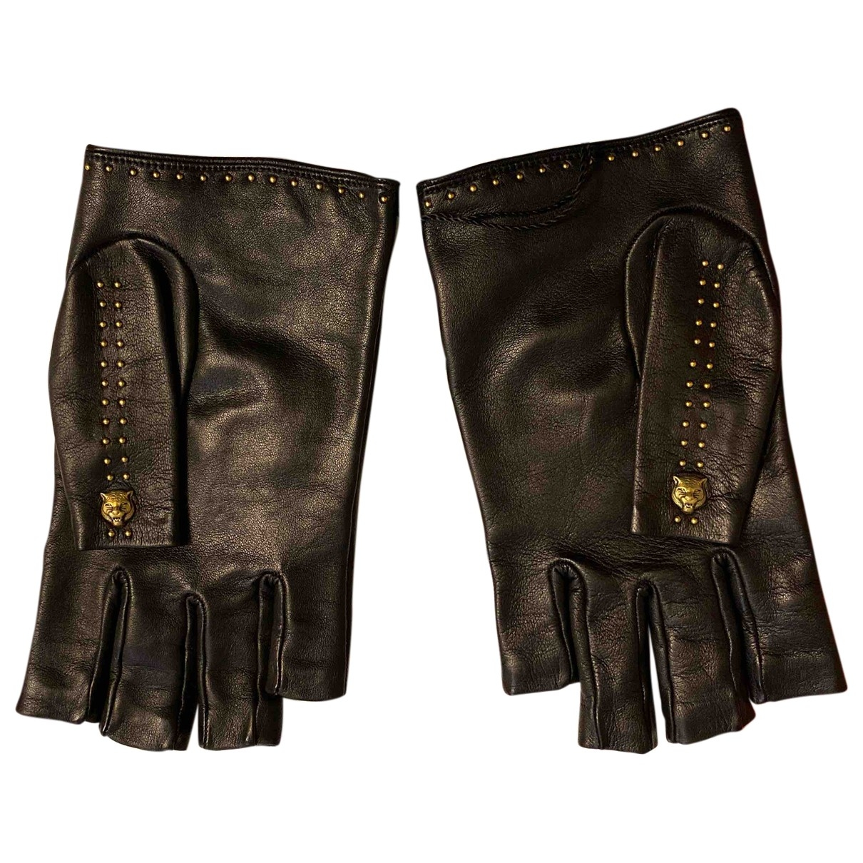 Gucci \N Black Leather Gloves for Men 9.5 - 10 Inches